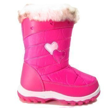 Kids Pink Winter Warm Snow Comfort Girls Fur Heart Boots: Amazon ...