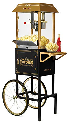 Nostalgia CCP1000BLK Vintage 10-Ounce Professional Popcorn and Concession Cart, 59 Inches Tall, Makes 40 Cups of Popcorn, Kernel Measuring Cup, Oil Measuring Spoon and Scoop, 19-Inch Wheels - Black