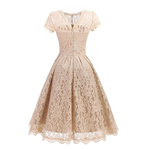 Kinrui Women's Polyester Lace Vintage Floral Lace Long Sleeve Boat Neck Party Cocktail Formal Swing Dress … (Beige, XXL) by Kinrui