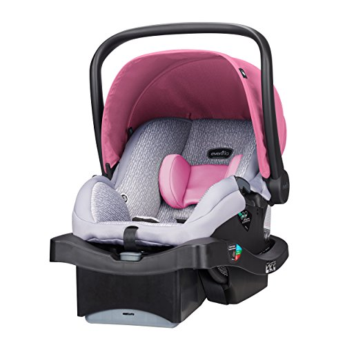 Evenflo LiteMax 35 Infant Car Seat, Easy to Install, Versatile & Convenient, Meets or Exceeds All Federal Safety Standards, Machine-Washable Pads, Full-Coverage Canopy, Azalea Pink
