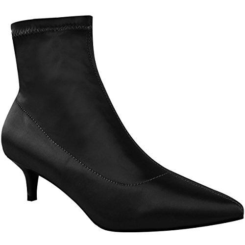 Mode Dorstige Dames Lage Kitten Hak Enkellaarsjes Stretch Satijnen Puntschoen Schoenen Maat Zwart Satijn