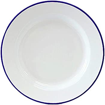 Exceptional Enamelware Dinner Plate  Solid White With Blue Rim