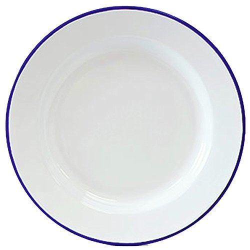 Enamelware Dinner Plate -Solid White with Blue Rim - Falcon Enamelware