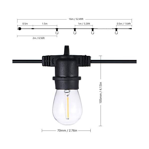 Tomshine E27 Catena Luminosa Lampadina LED Kit Luci Stringa LED E27 IP65 16M/15+2LED 6 spesavip