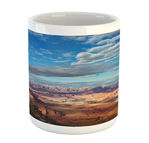Ambesonne Landscape Mug, Canyonland National Parks Utah Valley Cloudy Blue Sky Redrock Butes Photo Scenery, Printed Ceramic Coffee Mug Water Tea Drinks Cup, Multicolor