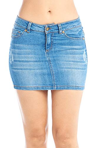 Juniors Denim Mini Skirt - Khanomak Women's Basic Jeans Denim Mini 5 Pocket Skirt Juniors - Dark Blue, Size Large
