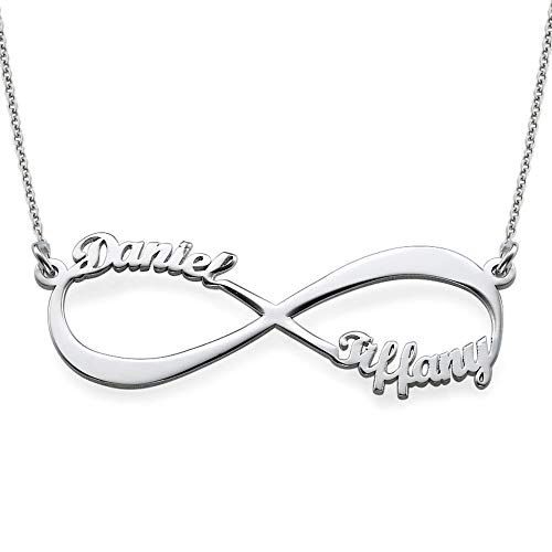 (Couples Infinity Pendant Name Necklace in Sterling Silver - Custom Made with Any Name! Endless)