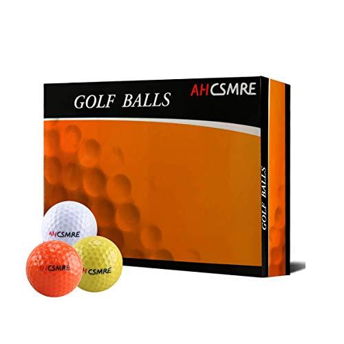 AHCSMRE Golf Gift Balls 3 Color White, Orange, Yellow (One Dozen) by AHCSMRE
