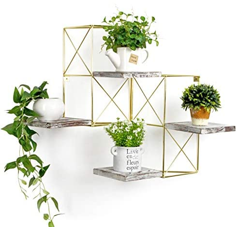 J JACKCUBE DESIGN Wall Mounted Floating Shelves, Set of two Gold Frame and Rustic Wooden Planter Display Organizer Shelf for Bedroom, Living Room, Bathroom, Kitchen and Office Decor- MK687A