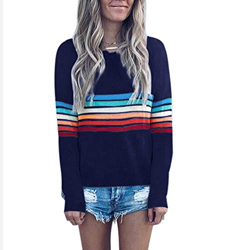 Women's Rainbow Stripe Shirts - Fashion Fall Sweater Knitted Pullover Long Sleeve Tops Small Navy