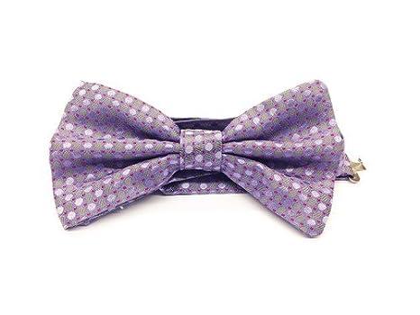 Real Luxury Napoli - Corbata de lazo de seda violeta con lunares ...