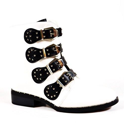 King Of Shoes Bequeme Damen Nieten Stiefeletten Bikerboots Halbschaft Halbhohe Stiefel Blockabsatz QN Weiß 80