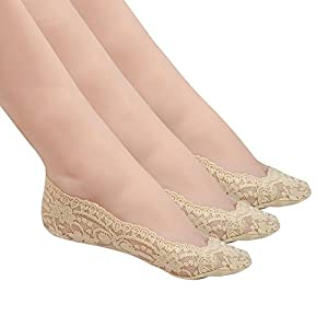 Women No Show Lace Cotton Liner Hidden Non-Skid Boat Socks 3 Pack by Habiter