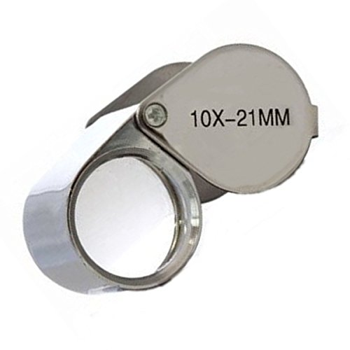 (10X 21mm Mini Folding Jewelry Magnifier Chrome Plated Metal Glass Len Loupe)