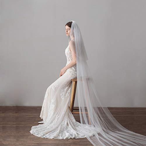 3 Meters IvoryWhite Simple Elegant Cathedral Bridal Wedding Veil,Long Veil With Comb