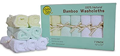 Baby Zelis 7-Piece Natural Bamboo Baby Washcloths (10-Inch-by-10-Inch)