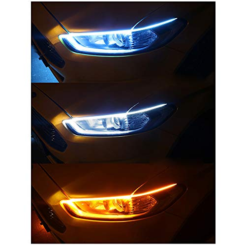 Running Xinfok Yellow Signal Turn Flexible 60cm Headlight With Slim Daytime 12v For Light Sequential Lamp Led Strip New Amber Drl MVSpzU