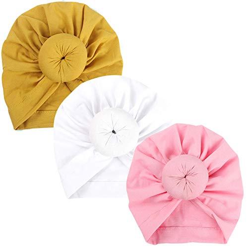 GIRAFY 3Pcs Baby Turban Knots Headbands Bohemian Head Knot Wrap Hat 1-6M (S9)