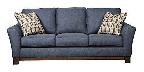 Benchcraft Janley 4380738 86″ Fabric Sofa with 2 Toss Pillows with Patterned Cover Boxed Seat and Back Cushions and Exposed Front Rail in