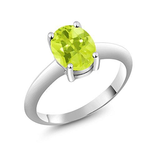 (1.65 Ct Solitaire Yellow Lemon Quartz 925 Sterling Silver Engagement Ring (Size 9))