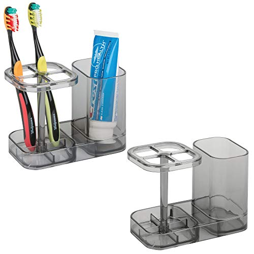 mDesign Bathroom Dental Holder and Organizer for Toothbrushes, Toothpaste u2013 Pack of 2, Smoke