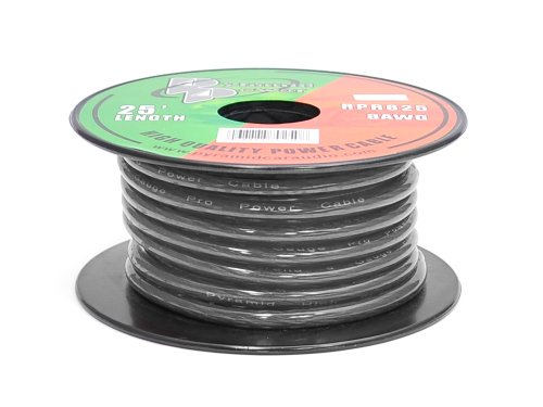 Pyramid RPB825 Ground Wire 8-Gauge, 25 Feet, Flexible, OFC Cable Wire, Translucent (Black) (Ground 8 Gauge Wire)