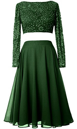 Formal Piece Gown Elegant Dress Cocktail Lace Dunkelgrun Sleeve Prom 2 Long MACloth Short PvRSPEq