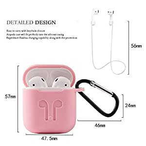 Haotop 4 in 1 Case Compatible with Apple AirPods,Silicone Skin with Keychain with Ear Hook for Apple AirPods (Pink)