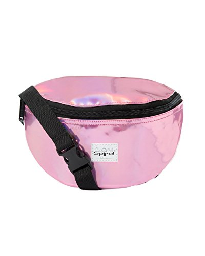 iHeartRaves Hologram Fanny Pack, Small Waist Pack (Pink)