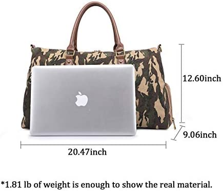 RUIMA Travel Duffel Bag Canvas Camouflage Weekender Bag Travel Overnight Carry on Bag with Shoe Compartment for Women