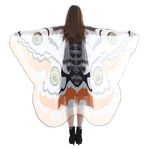 POQOQ Butterfly Wings for Women, Butterfly Shawl Fairy Ladies Cape Nymph Pixie Costume Accessory 185145CM Orange]()