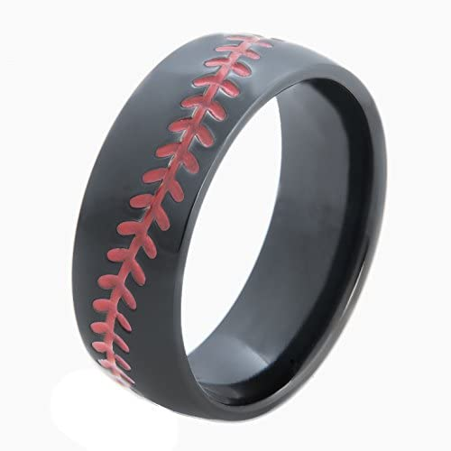 4 Titanium Baseball Ring with Red Stitching Dome Profile 8mm Comfort Fit