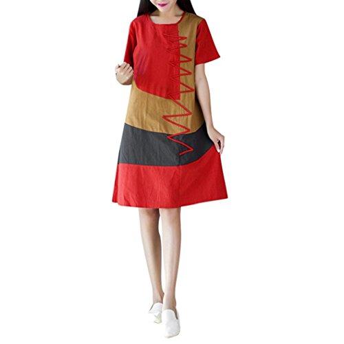 Bohe O Women Dress Cotton KIMODO Loose Linen Neck Orange Patchwork Short Casual Sleeve xzwtdtqfR