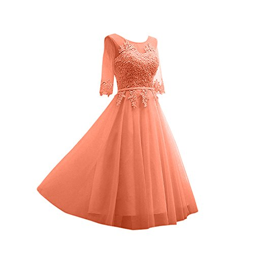 mit Kleider Orange Jugendweihe Langarm Spitze Silber Marie Braut Glamour Festlichkleider La Abendkleider Wadenlang Fqv1USSw
