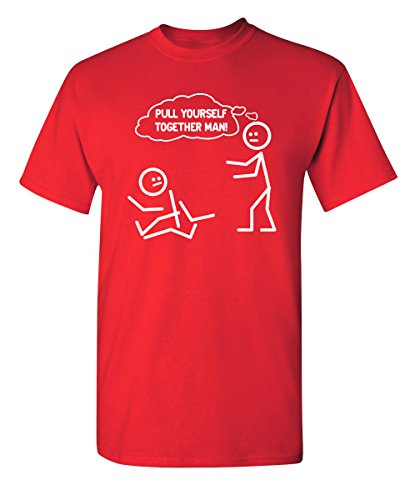Pull Yourself Together Man! Graphic Cool Novelty Funny Youth Kids T Shirt YM Red