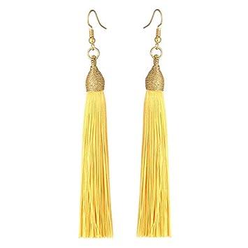 202d52417 Long Tassel Earrings For Women Boho Drop Dangle Fringe Earrings Silk Fabric  Vintage Statement Jewelry Gold
