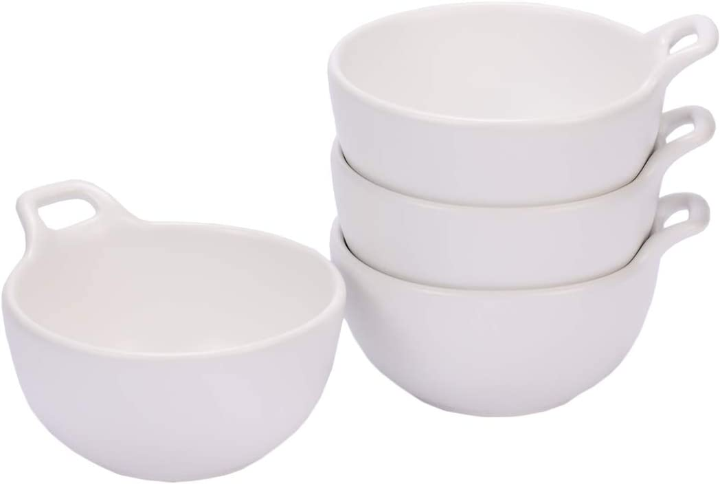 Hoxierence - 10 Oz Matte Ceramic Dessert Bowl, Round Single Handle Ice Cream Bowl, Snack and Small Side Dishes, Set of 4 (White)