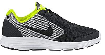 Nike Kid's Revolution 3 (GS) Boy's Running Shoe (5.5 Big Kid M, Black/Volt Noir/White)
