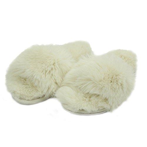 Home Slipper Womens Warm Cute Long Fleece Plush Indoor House Spa Slippers Clogs White ndY6ShVuj