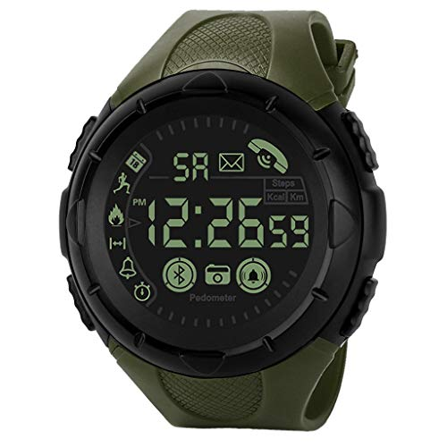 Finedayqi ❤ Fashion Men's Smart Watch Bluetooth Digital Sports Wrist Watch Waterproof (Army Green)