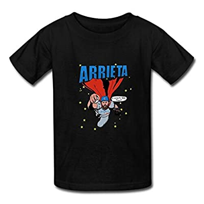 Custom Men's Jake Arrieta T-shirt Print Cotton Short Tee Shirt US M Black