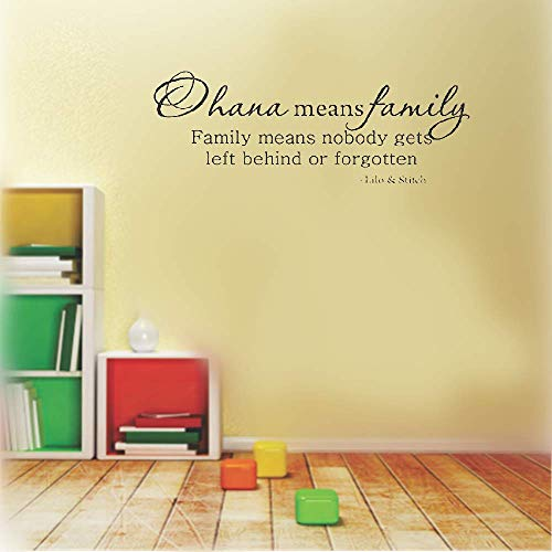 Wall Sticker Lettering Wall Art Sticker Removable Letters Quote Art Ohana Means Family and Family Means No One Gets Left Behind Or Forgotten for Home Living Room Bedroom -