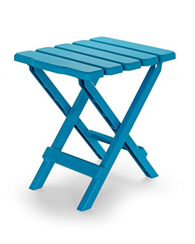 (Camco 51680 Aqua Regular Adirondack Portable Outdoor Folding Side Table, Perfect for The Beach, Camping, Picnics, Cookouts and More, Weatherproof and Rust)