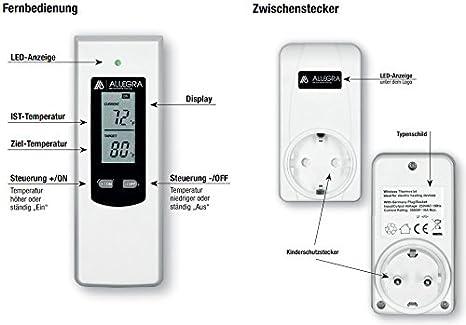 Smart Thermostat Steckdose f/ür Infrarotheizung Heizung und Klima mit Fernbedienung und Timer Steckerthermostat Heizk/örperthermostat T24