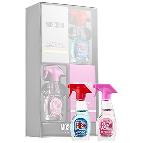 Moschino Mini Dabber Eau De Toilette Set With Moschino Fresh Couture Eau De Toliette And Moschino Fresh Pink Couture Eau De Toliette Minis 2 x 0.17 Ounce / 5 Milliliter ()