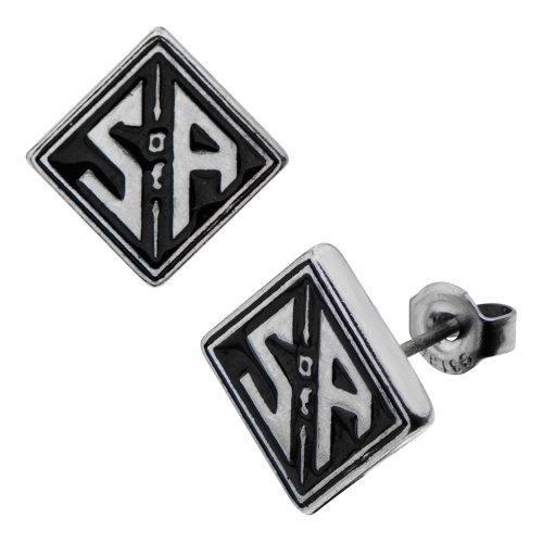 """Sons Of Anarchy """"Soa en acier inoxydable carré Logo Boucles d'oreilles clous"""