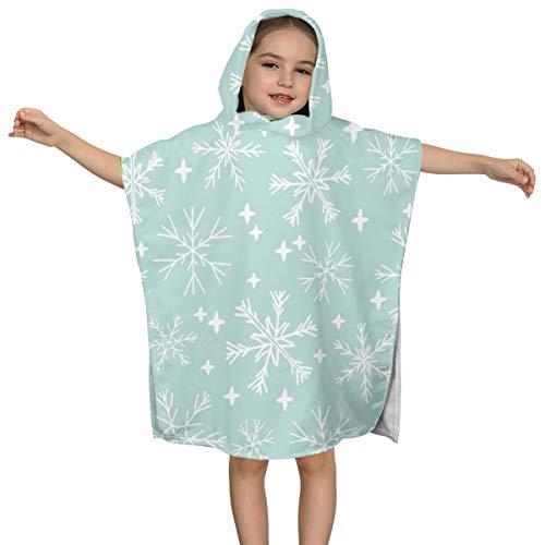 (SRLM-YJ Mint Cute Winter Snowflake Kids Cozy Hooded Poncho Bath/Beach Towel)