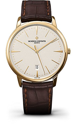 Vacheron Constantin Patrimony Opaline Dial Dark Brown Leather Mens Watch 85180/000J-9231