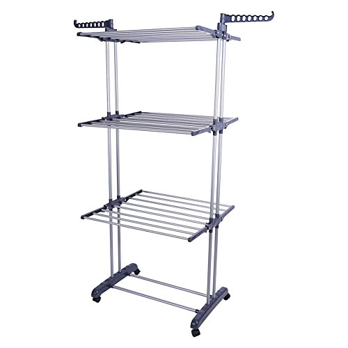 Foldable Clothes Drying Rack,Roller Type Extra Large 3 Tier