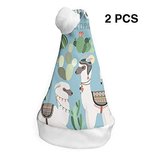 SHNUFHBD 2 Pcs Decor Christmas Hat Cactus and Llama Clipart Santa Headwear Xmas Cap Costume Decorations -